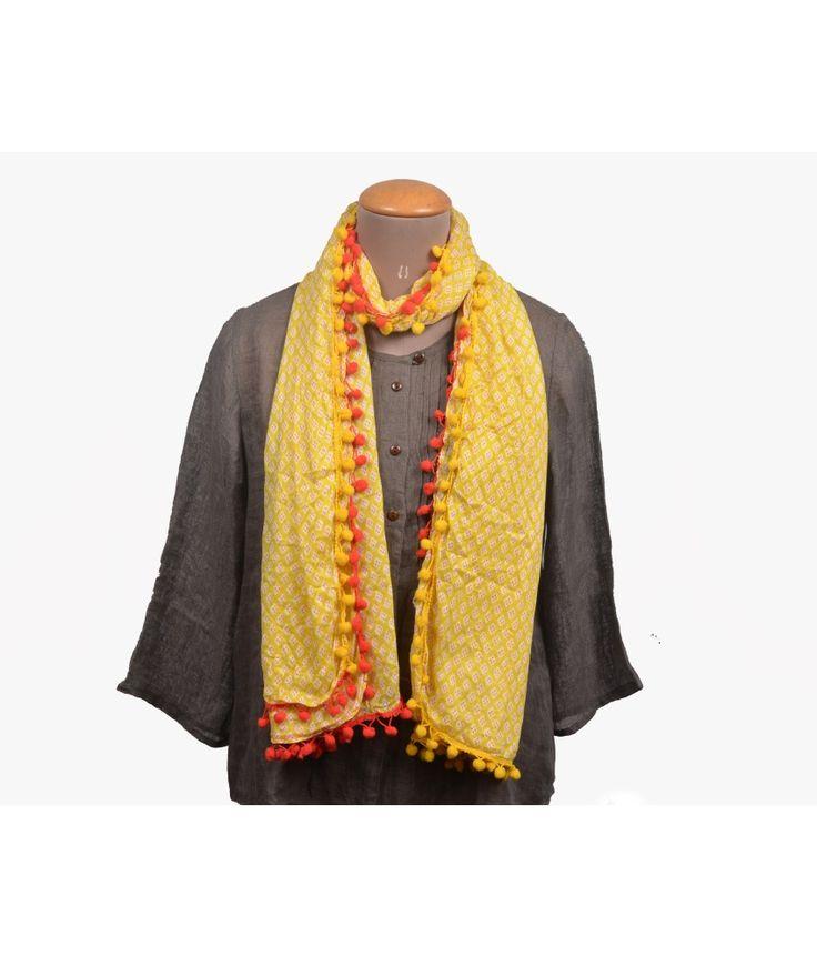 MASALA TEA Yellow Cotton Stoles For Women
