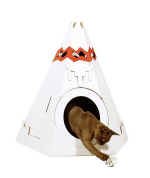 Native American Teepee Cat House from Loyal Luxe: Cats, Loyal Luxe, Native Americans, American Teepees, Cat Teepees, Cardboard Cat, Pet Houses, Cat Houses, Kitty Teepees