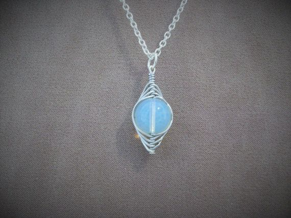 Pendant Necklace Moonstone with silver plated by ThousandDrops