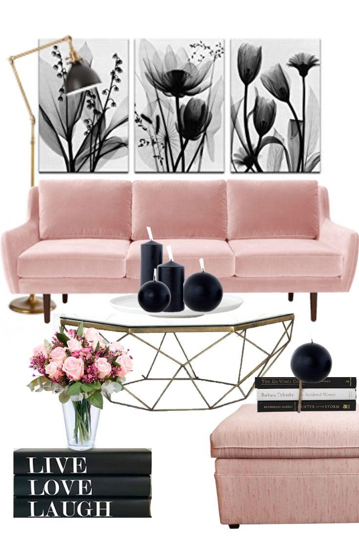 Modern Living Room Decor Idea Blush Living Room Decor Black Living Room Pink Living Room