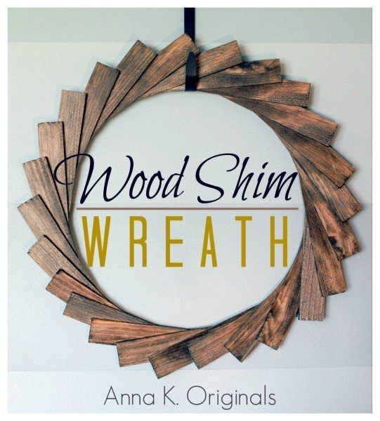 Simple Wood Shim Wreath. 2.50 for all the shims needed. I have leftover stain (we stain them before) and we need an MDF wreath form. So easy.