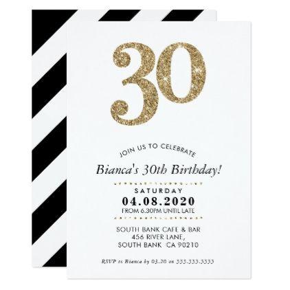 30TH BIRTHDAY PARTY INVITE modern gold glitter - birthday gifts party celebration custom gift ideas diy
