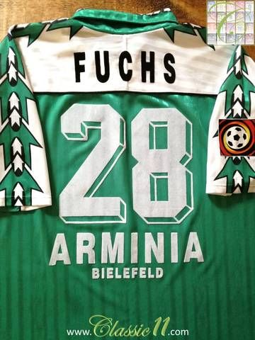 Official Reusch Arminia Bielefeld away football shirt from the 1997/98 season. Complete with Fuchs #28 on the back of the shirt and Bundesliga patch on the sleeve.