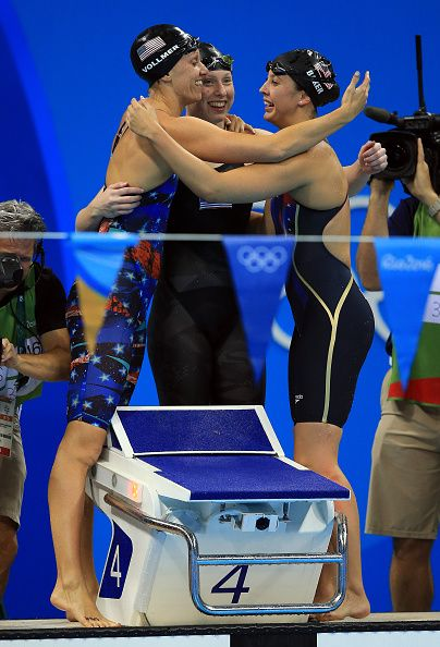 Dana Vollmer Lilly King and Kathleen Baker of the USA win Gold in the Women's…