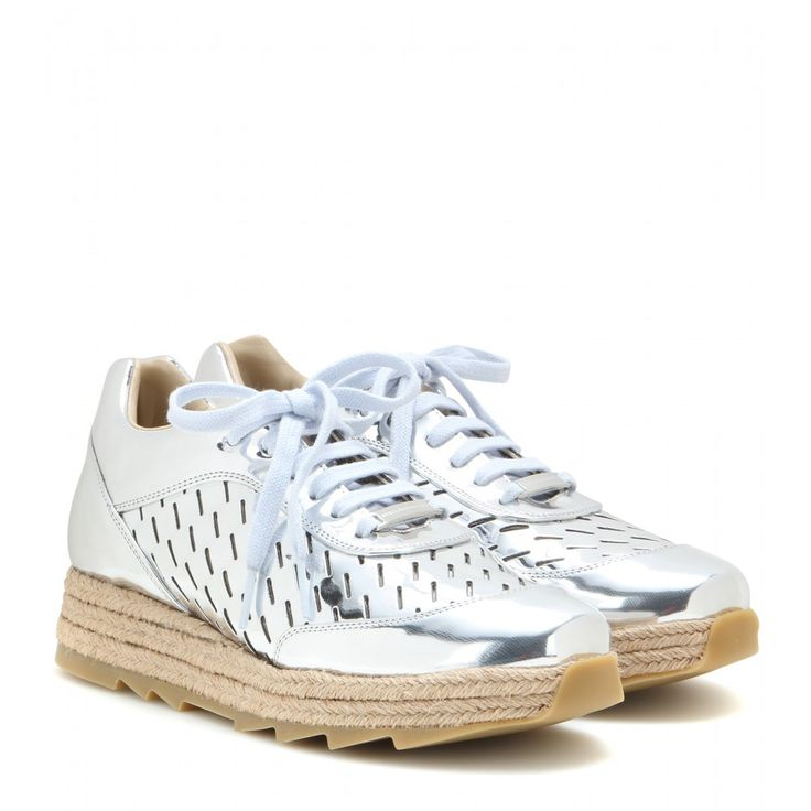The \u0027Macy\u0027 sneakers from Stella McCartney will make a bold impact wherever  you are. The metallic silver shade teams perfectly with the neutral  espadrille ...