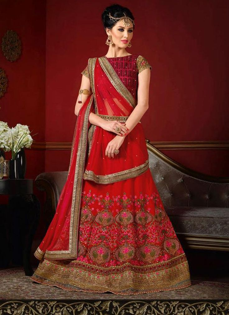 Elegant Net Red Patch Border Work A Line Lehenga Choli