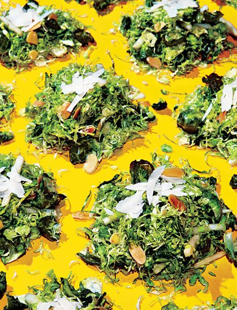 Salad With Roasted Brussels-Sprout Leaves, Pecorino, Toasted Almonds ...