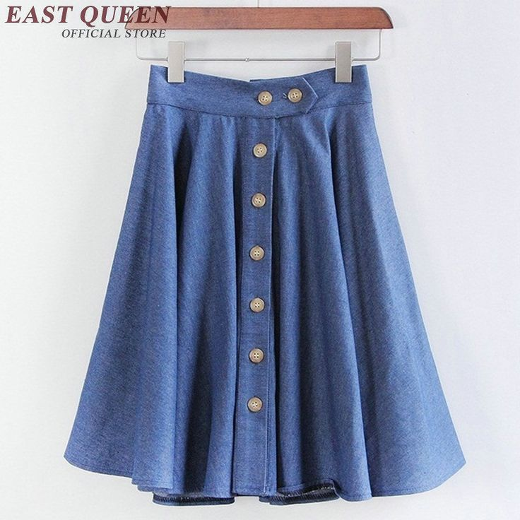 ==> [Free Shipping] Buy Best 2017 new sun skirt A-line button up skirt casual denim skirts for women high waist short skirts pleated school skirt KK980 HQ Online with LOWEST Price | 32813806275