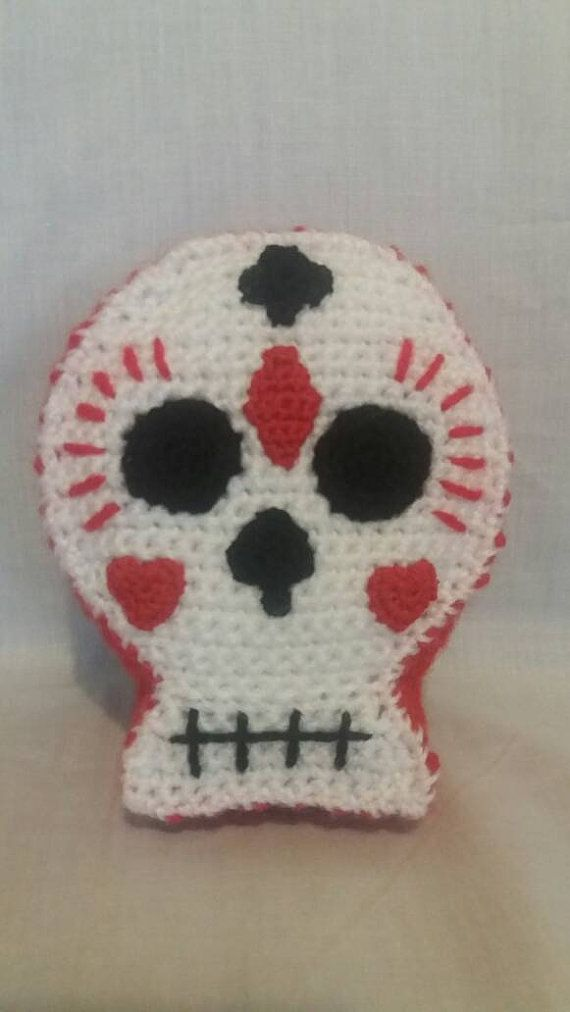 Crochet Decorated Skull  Soft Toy Skull  by CarrotTopsCharacters