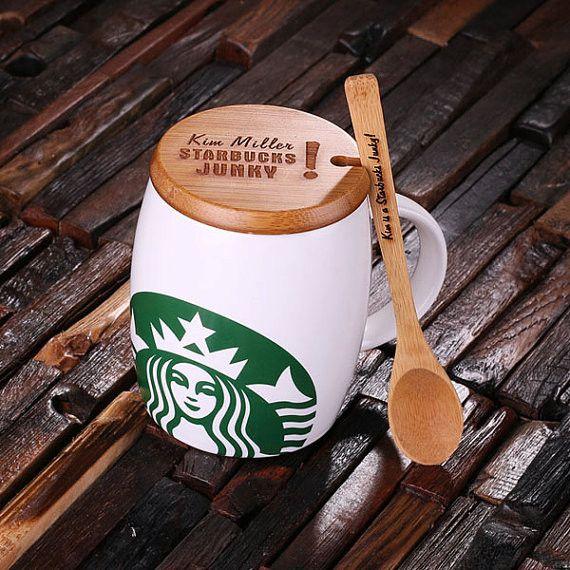 Personalized 16 oz. Ceramic Starbucks Mug w/Bamboo Lid & Spoon – White, Red & Black