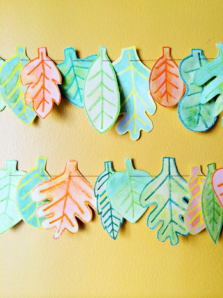 "DIY Watercolor Leaf Garland This would be great to recreate the leaves from ""Colors of the Wind"" from Pocahontas!"