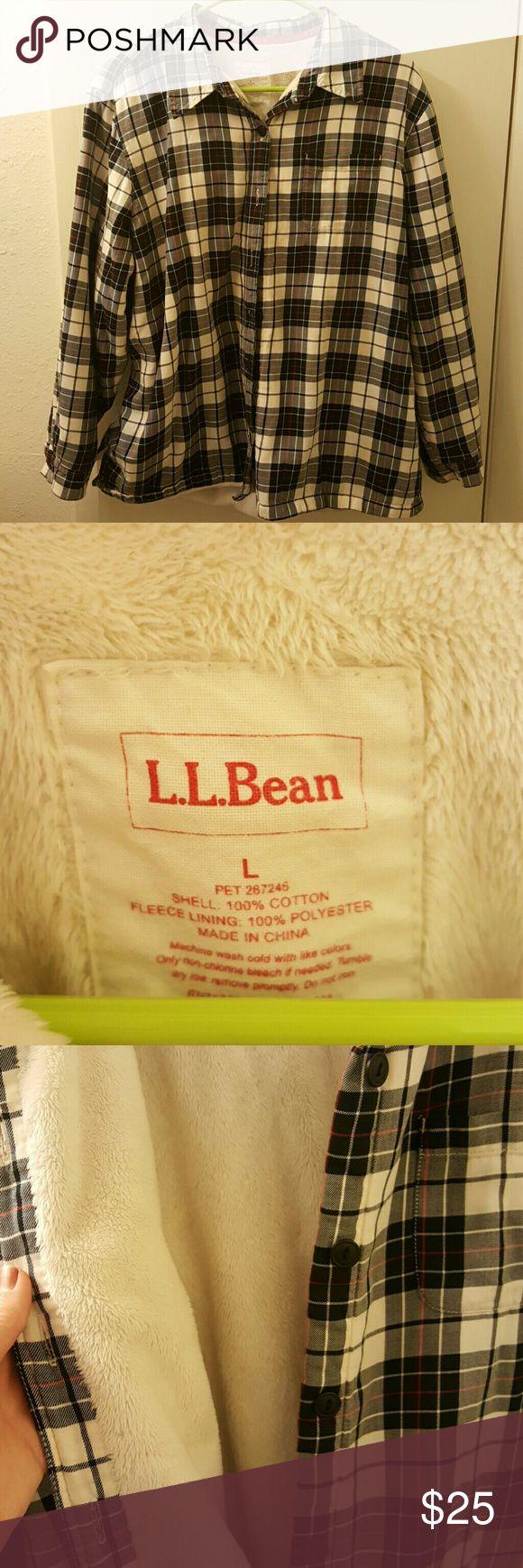 L.L Bean Womens Flannel Jacket Soft 100% polyester Fleece lining   Shell is 100% cotton L.L. Bean Jackets & Coats