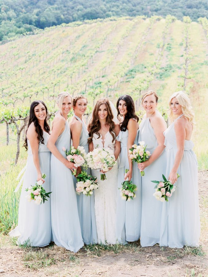 Baby blue bridesmaid dresses: http://www.stylemepretty.com/2016/07/13/the-groom-built-his-bride-the-sweetest-wedding-day-surprise/ | Photography: Rachel Solomon Photography