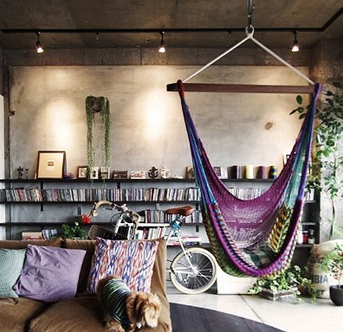 Hippie living room home room decor pinterest hanging for Living room hammock