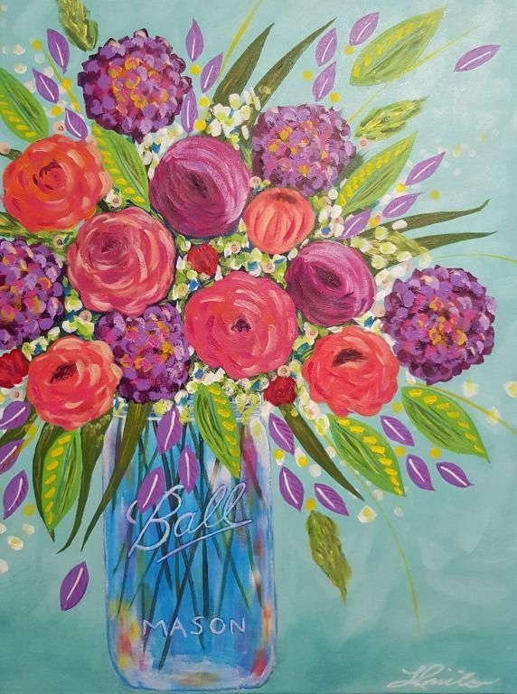 "Mason Vase- 18"" x24"" original acrylic painting on canvas by Lisa Pirillo"