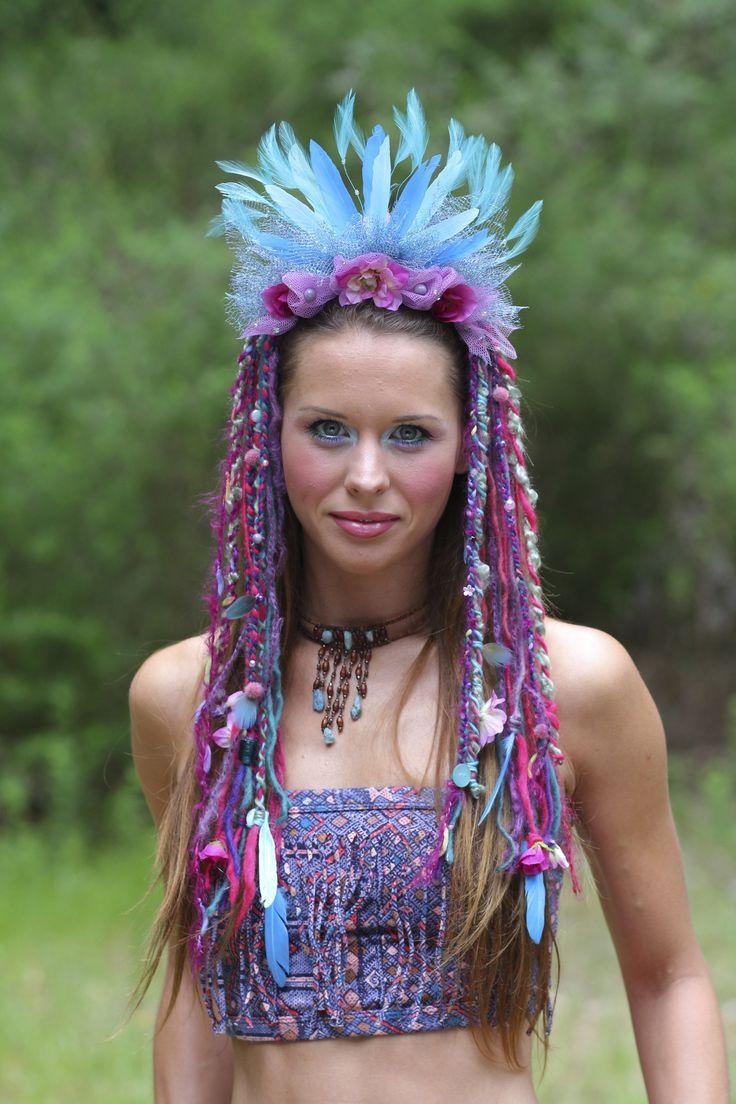 headdress tribal feather headdress forest faery wig goddess gypsy burningman festival wear belly dance fantasy fairytale  www.etsy.com/shop/lotuscircle