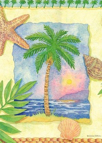 Garden Flag Palm Tree Beach Scene Mini Garden Flag