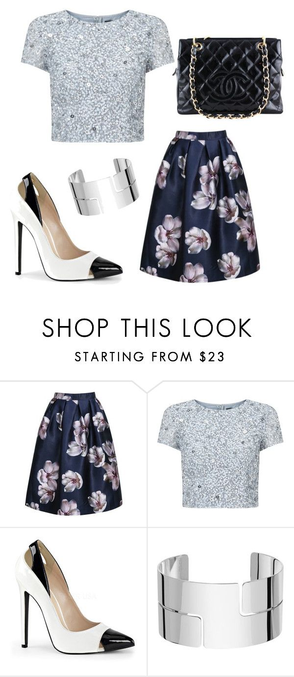 """Pretty Floral Metallic"" by stylebyeliana on Polyvore featuring Adrianna Papell, Dinh Van and Chanel"