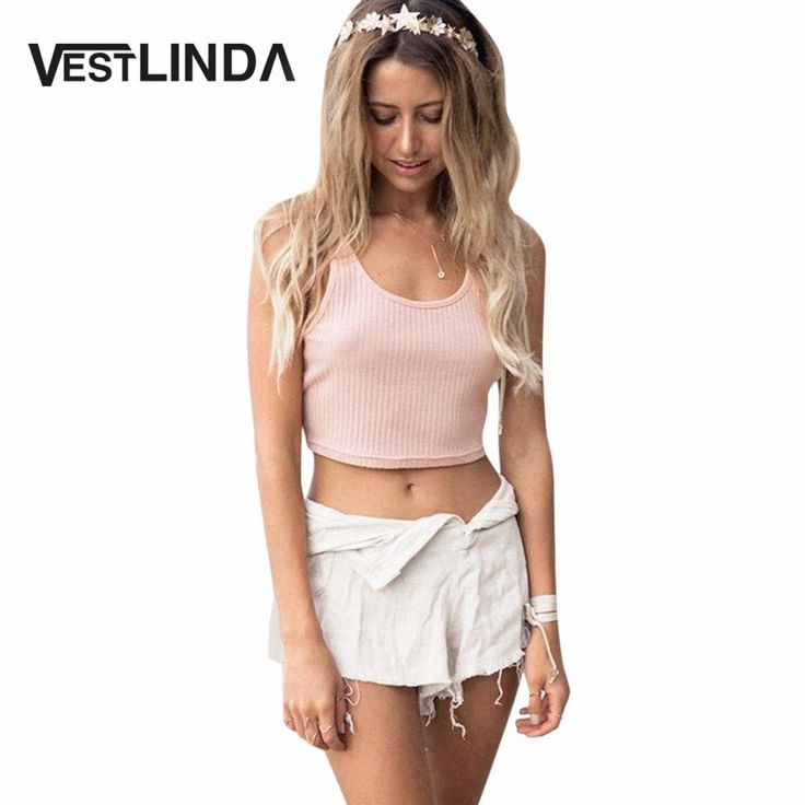 VESTLINDA Summer Tank Top Cotton Vest Top Sexy Ladies O Neck Solid Backless Rib Knited Tank Top Women Sleeveless Casual Crop Top
