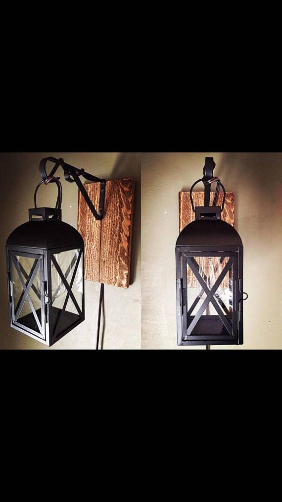 Plug In Industrial Lantern Wall Sconce On Barn Wood Black Wall Sconces Glass Wall Sconce Candle Wall Sconces
