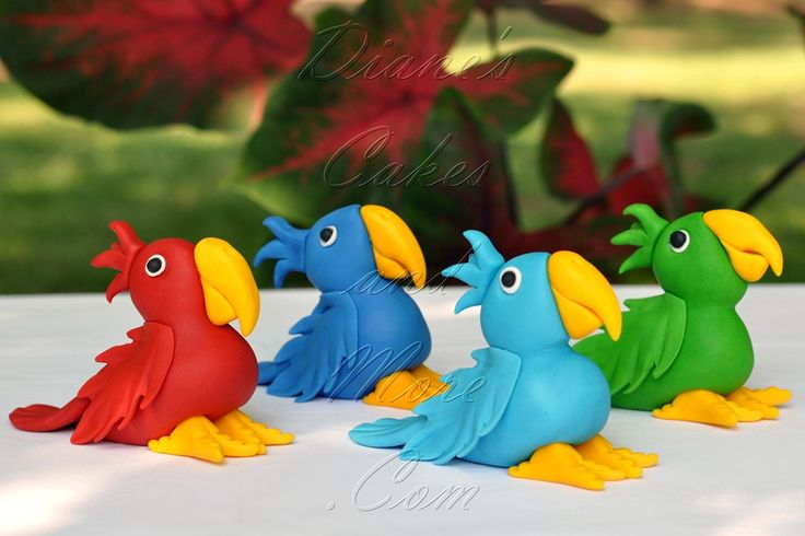 Parrots porcelana fria polymer clay pasta francesa masa flexible fimo modelling modelado figurine cake topper