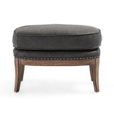 "Portsmouth 29"" Tufted Leather Ottoman in Sierra Range"