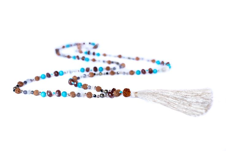 Brown South Indian moonstone, rainbow moonstone, spinel, turquoise, iolite, pyrite & rudraksha mala