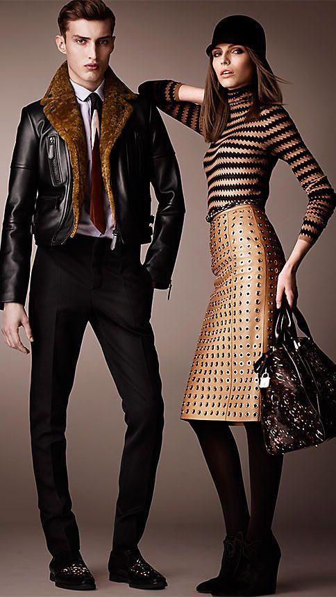 Leather Eyelet Skirt   Burberry