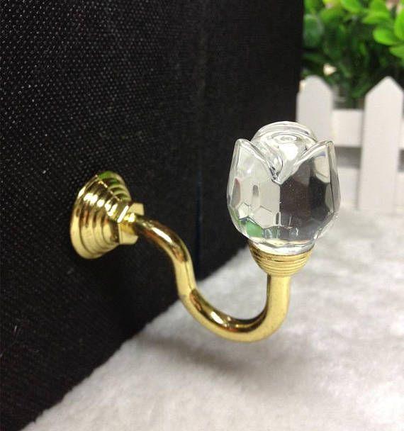 Glass Crystal Curtain Tiebacks Hat Coat Hook Hanger Rose