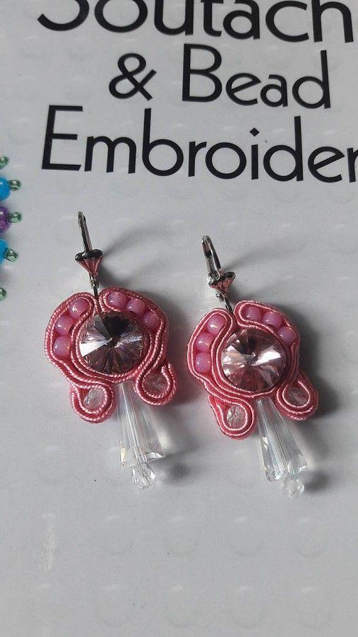 Náušnica pink lady- soutache