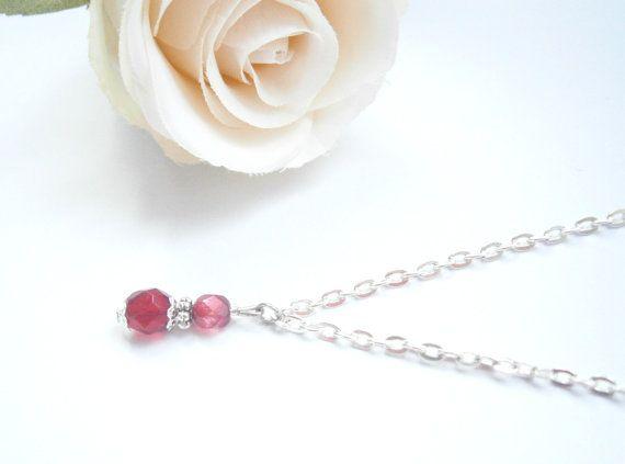January Birthstone Necklace  Garnet color by GlamorousSparkle, €18.00