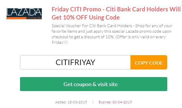 citibank coupon 2019