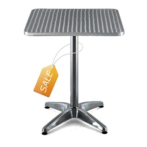 24 x 24 Square Aluminum Table Top With Base: Seafoodfish Marketing