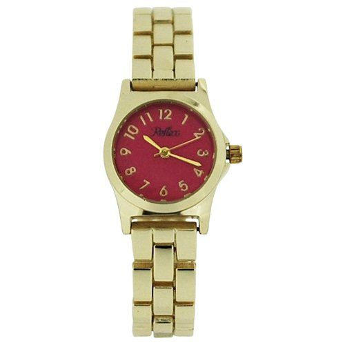 Reflex Ladies Analogue Pink Dial & Yellow Tone Metal Bracelet Strap Watch LB110