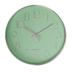 Design House Clock Plastic  with Metallic Numbers Green 30cm