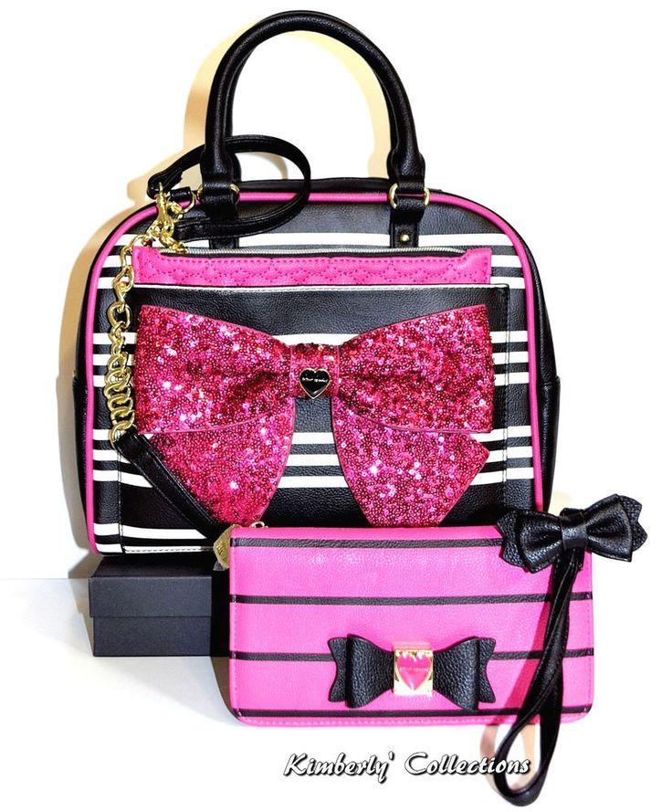 Betsey Johnson Pink Sequin Bow Satchel Bag, Pouch & Wristlet Wallet 3pc Set NWT #BetseyJohnson #ShoulderBagToteShoppersSatchelbag