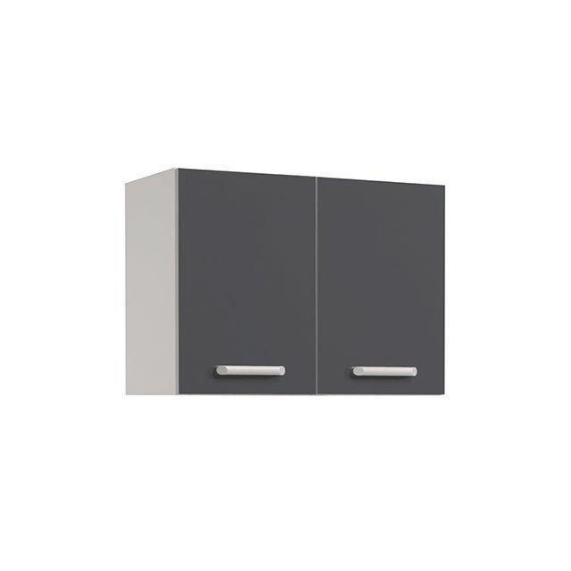 Meuble haut L80xH58xP36cm - gris brillant | Meuble de cuisine ...