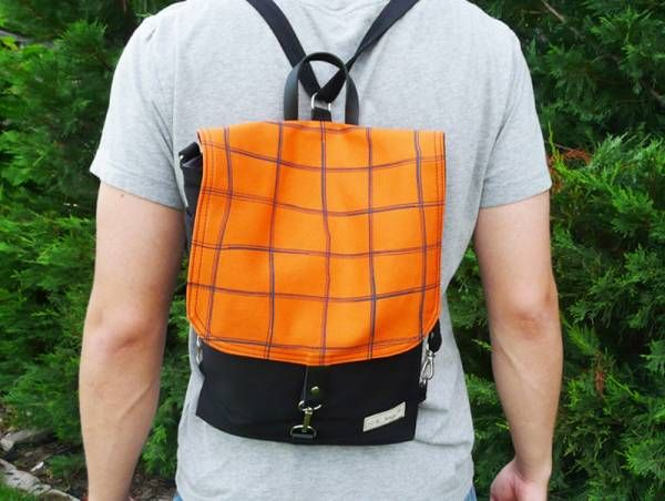 Handmade Canvas Backpack - Orange Plaid Design