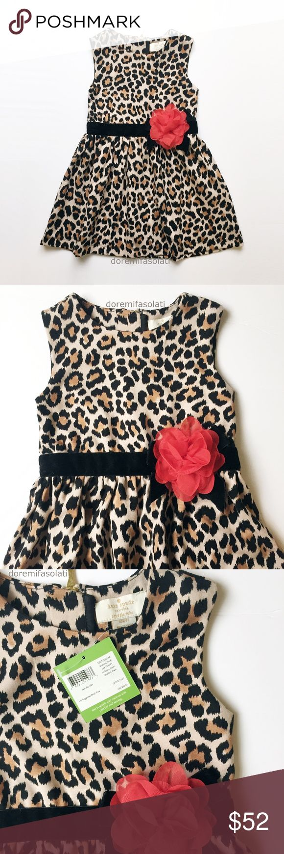 "KATE SPADE LEOPARD mini dress top toddler girls 4Y KATE SPADE  new york  skirt the rules   classic   leopard print.  organza rosette.  luxury gold hardware.    "" she is quick and curious and playful and strong "".    new with tags, pet/smoke free.    laid flat:   chest:  10.75"" shoulders: 9.75  shoulder to hem: 21""    party occasion everyday casual school birthday special fancy animal faux cheetah cat fur velvet belted belt red flower floral winter holiday toddler baby babies little kate…"