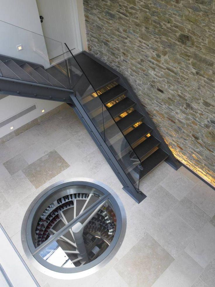 Retractable Round Glasstrap Door Wine Cellar By Spiral