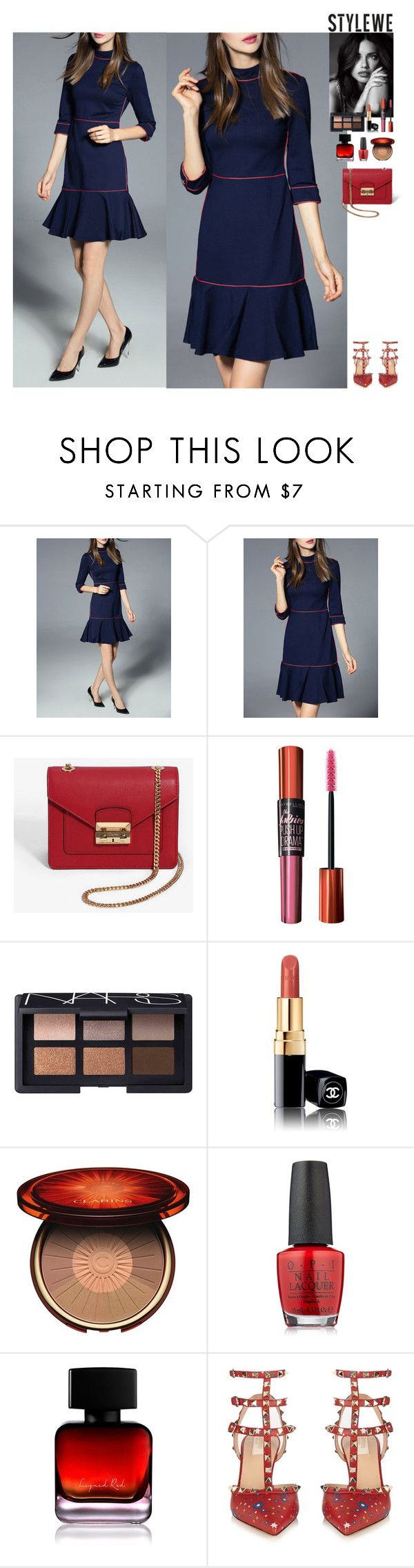 Outfit StyleWe by eliza-redkina on Polyvore featuring мода, Valentino, NARS Cosmetics, Clarins, Maybelline, The Collection by Phuong Dang, OPI, Victoria's Secret, outfit and like
