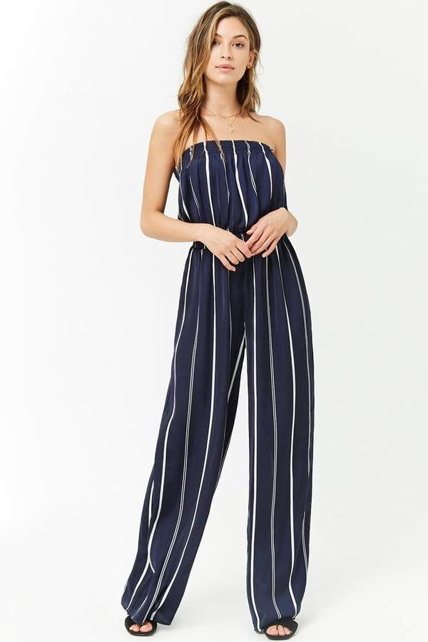 0dffaebb1c79 Forever 21 Satin Striped Strapless Jumpsuit. Forever 21 Satin Striped  Strapless Jumpsuit Summer Vacation Outfits ...