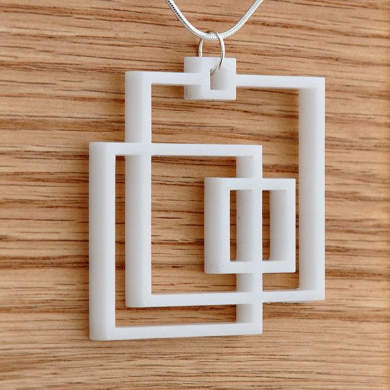 Acrylic Laser Cut Square Necklace Pendant by moderngirljewelry, $10.00