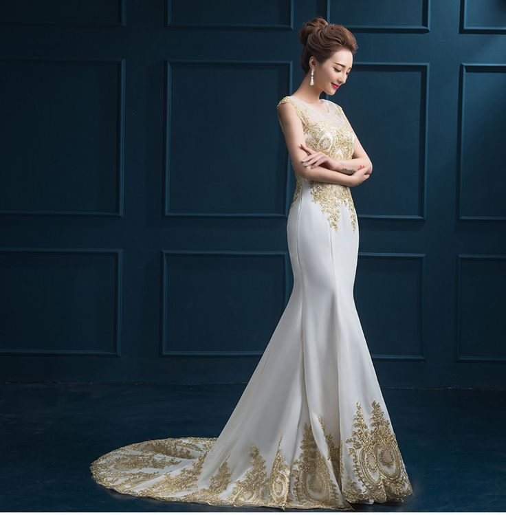 Hot sale luxury evening dresses prom dresses See Through Back formal dress gold appliques dress  vestidos de festa free shipping-in Evening Dresses from Weddings & Events on Aliexpress.com | Alibaba Group