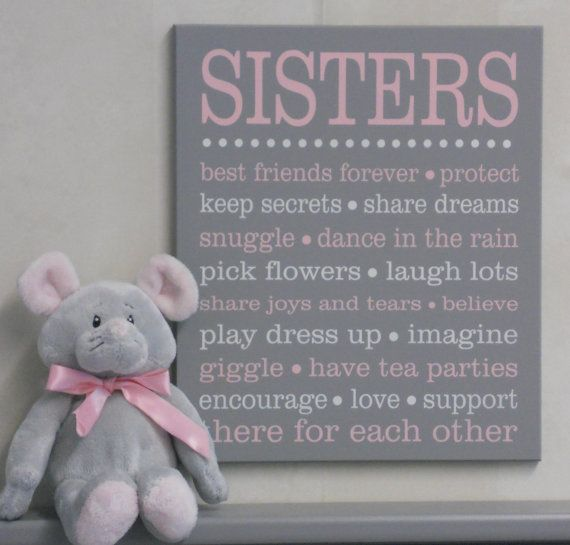 Sister subway art sign - perfect wall decor for a shared bedroom or playroom!  This sign measures approximately 11x13 comes with hanger on the back.