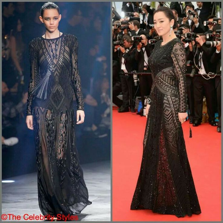 【The 67th Cannes Red Carpet】Chinese actress Gong Li wore a Roberto Cavalli SS2014 black embellished gown with leather trims and an open back to the opening ceremony of the 67th Annual Cannes Film Festival on May 14 in France. #Cannes #CannesFilmFestival #Hollywood #Celebrity #Whowearswhat #WhoWoreWhat #Fashion #dress #movies #stars #France #Redcarpet #GongLi #RobertoCavalli #2014SS