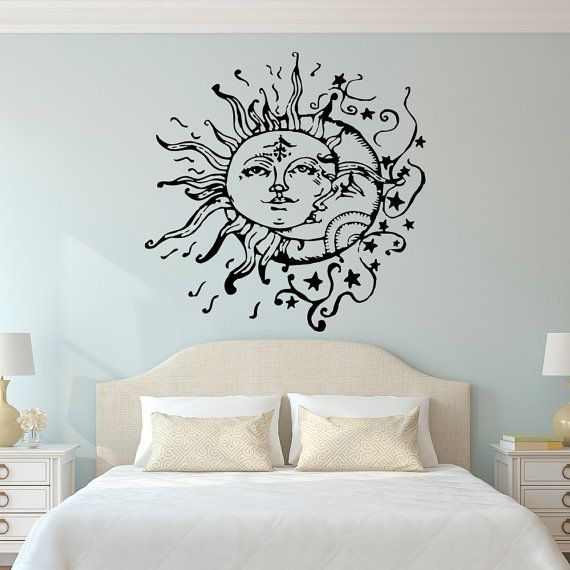 Sun And Moon Wall Decal- Sun Moon And Stars Wall Decals Ethnic Decor- Bedroom Dorm Wall Decal Sticker Bohemian Boho Wall Art Home Decor