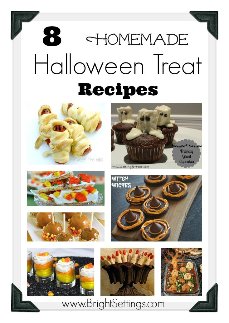 Here are 8 Homemade Halloween Treat Recipes to make for  your next Halloween party. The little ghouls in your neck of the woods will rate your house the best on the street! #Halloween #treats #recipes