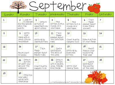 Little Miss Glamour Goes to Kindergarten: September Homework Calendar - Cute Idea.  Maybe make one of my own for next month?