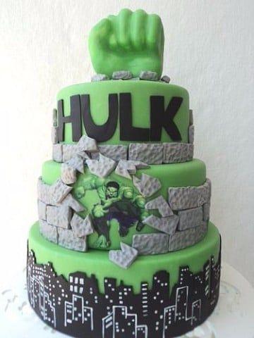 tortas del increible hulk en fondant